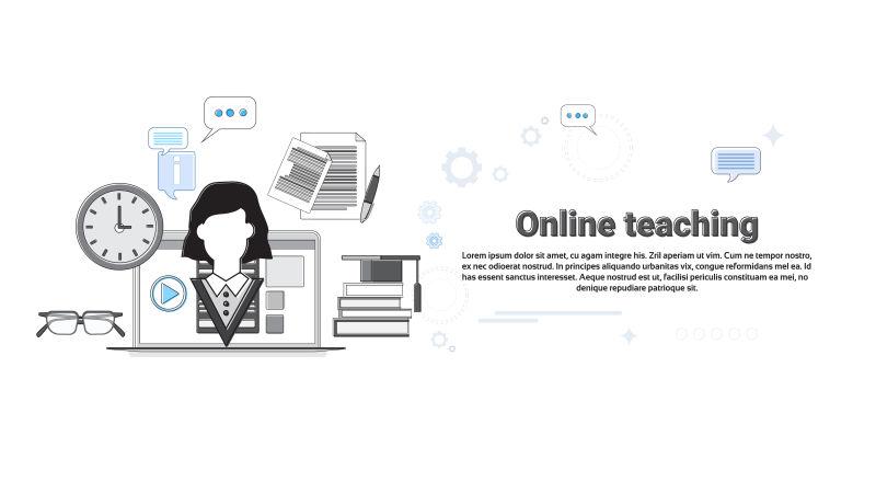 在线网络教育旗帜矢量插图教学