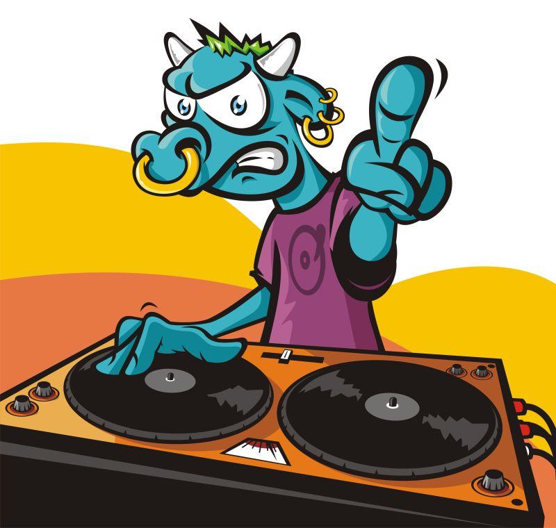 DJ公牛的卡通人物矢量