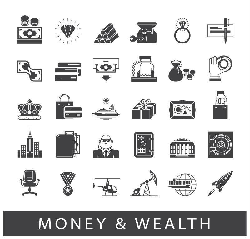 创意矢量金钱财富图标设计