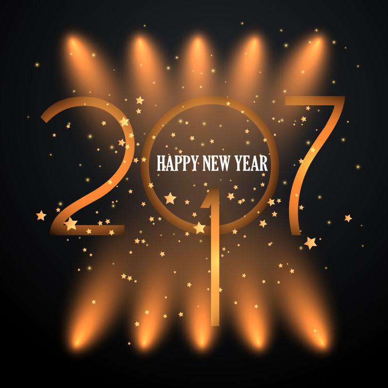 创意矢量橙色抽象新年快乐背景