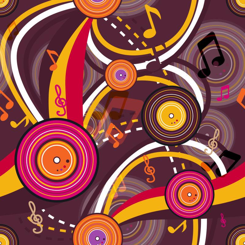 矢量音乐无缝明亮纹理背景