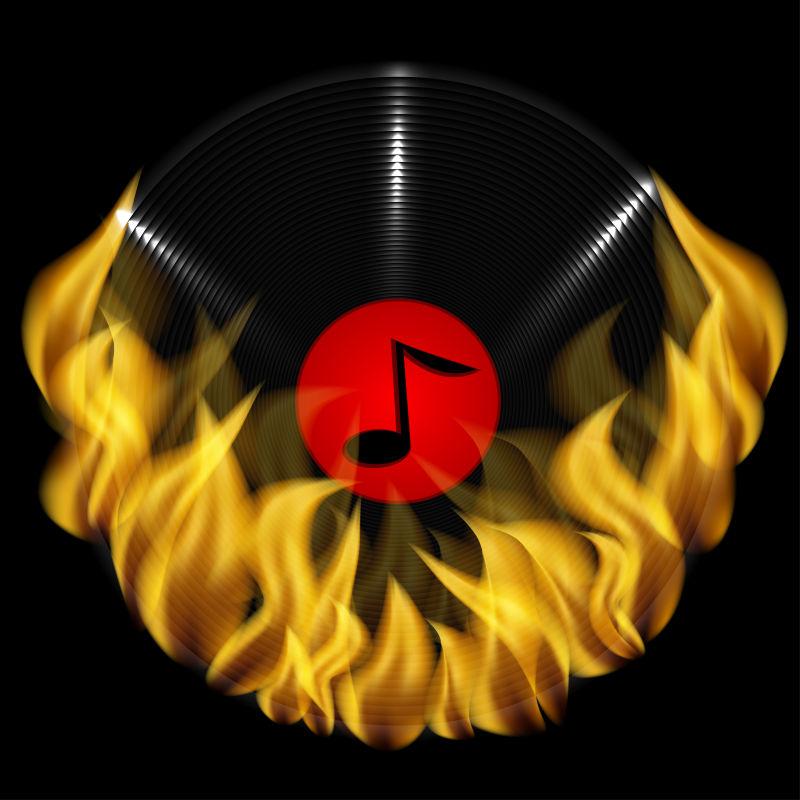 矢量音乐磁盘与火