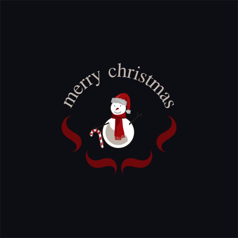 雪人和祝福语矢量创意logo设计
