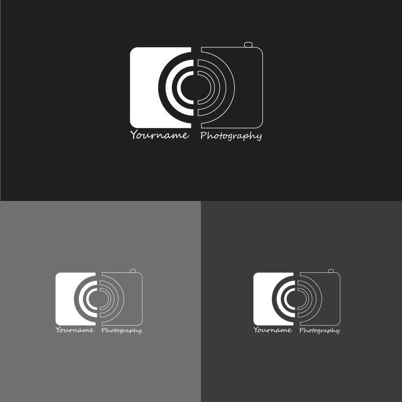 黑白色圆圈状矢量创意logo设计