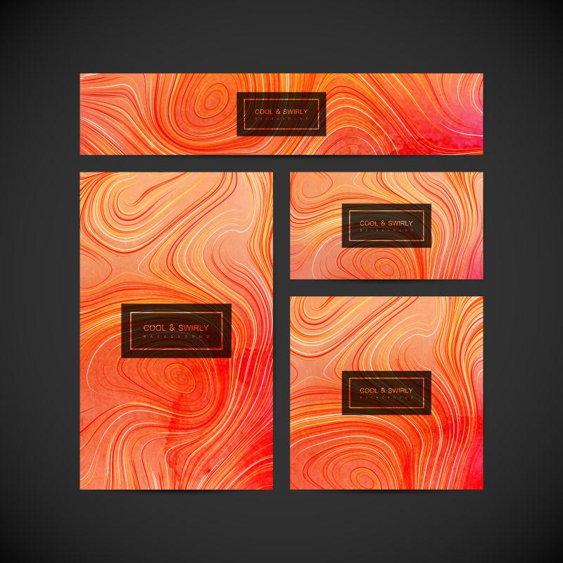 矢量橙色丙烯酸纹理卡片设计