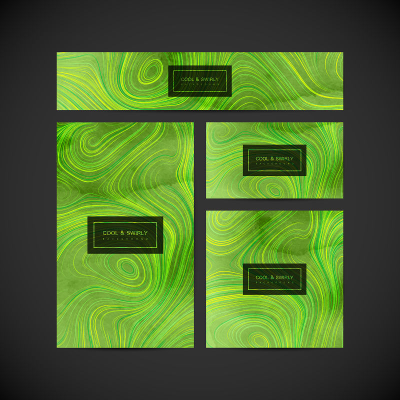 矢量绿色水彩纹理宣传卡片