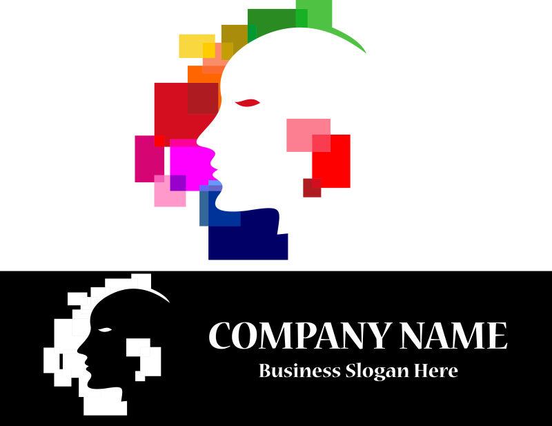 彩色虚拟人类头部标志矢量创意logo设计