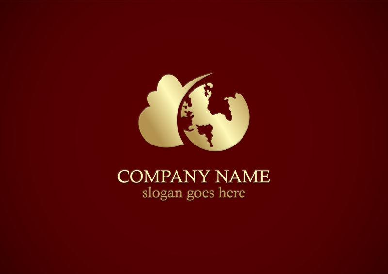 世界云地球黄金矢量logo标志
