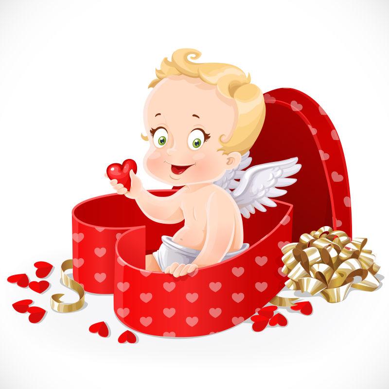 礼物盒里的可爱天使矢量插图