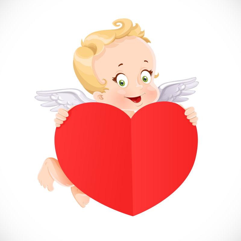 抱着爱心的小天使矢量插图
