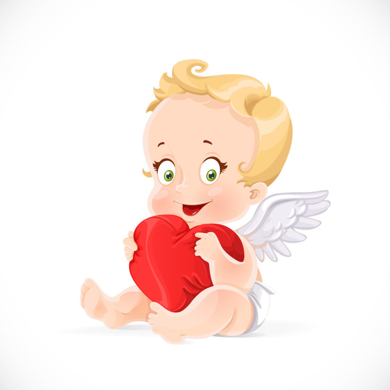抱着红色爱心的可爱小天使矢量插图