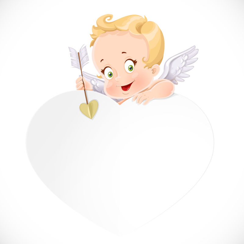 爱心后面的小天使矢量设计