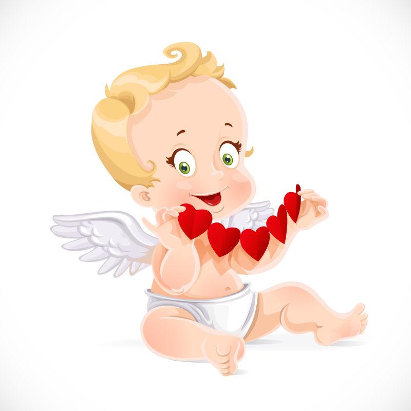 矢量的可爱天使插图