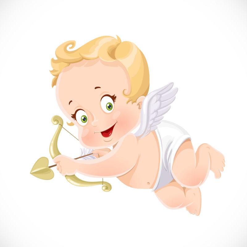拿着弓箭的可爱天使矢量插图