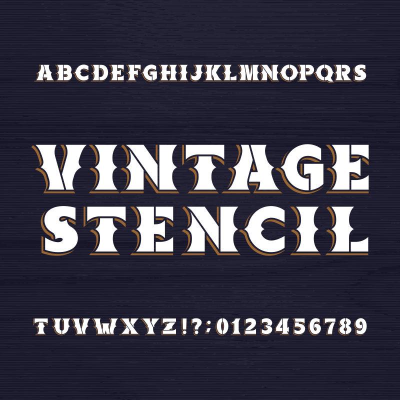 矢量创意复古欧式风格的数字字母设计元素