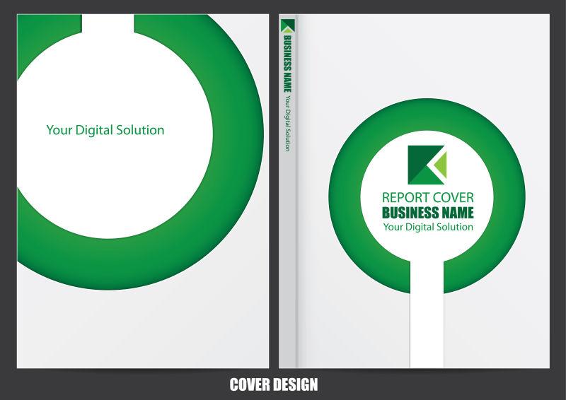 矢量绿色环形图案封面