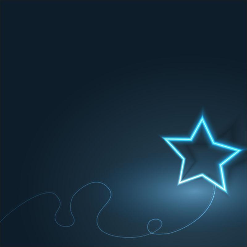 矢量蓝色发光五角星抽象背景