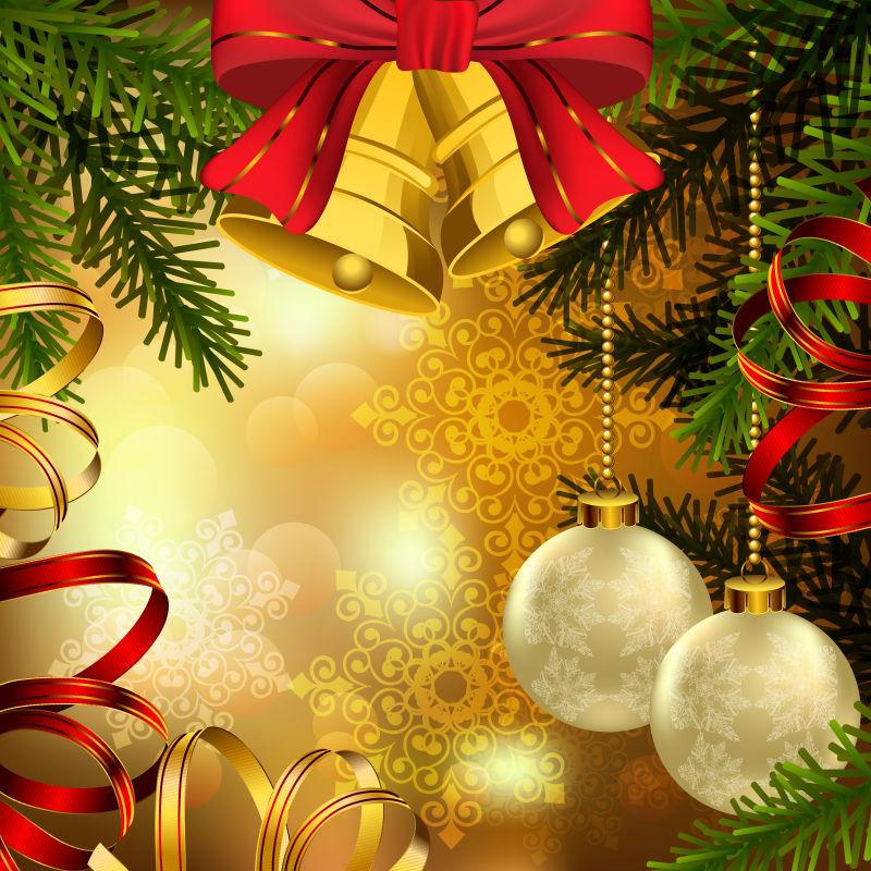 创意矢量圣诞元素的华丽背景