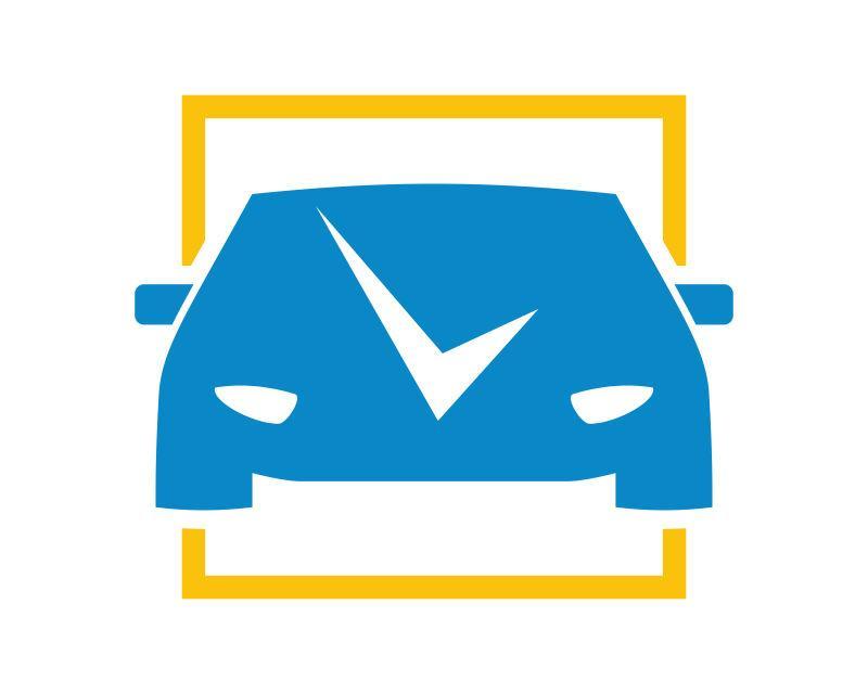 蓝色带有线条元素的汽车轮廓图标矢量