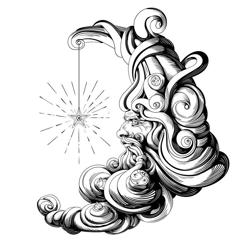 哥特式月亮矢量插图