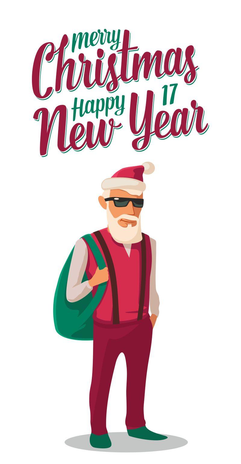 圣诞老人穿着时髦的嬉皮士风格衣服矢量图