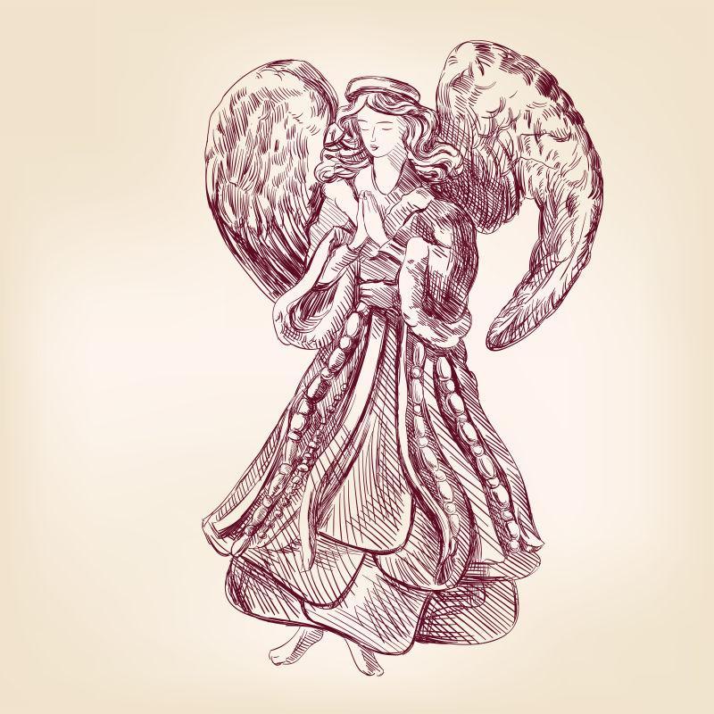 天使手绘矢量写实写生矢量