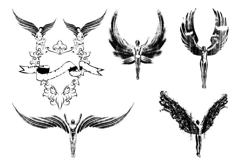 六天使宗教人物符号飞行矢量