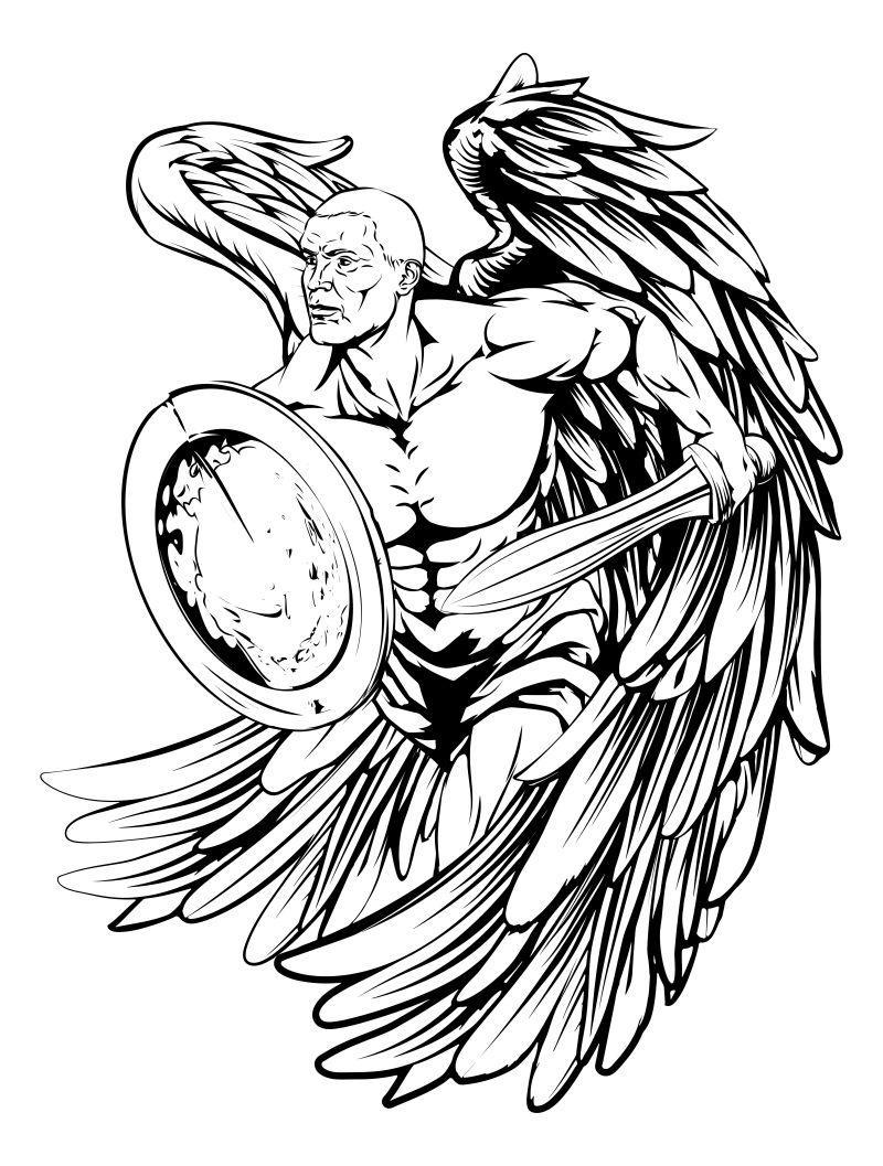 战士的天使角色或运动吉祥物手持剑和盾牌矢量