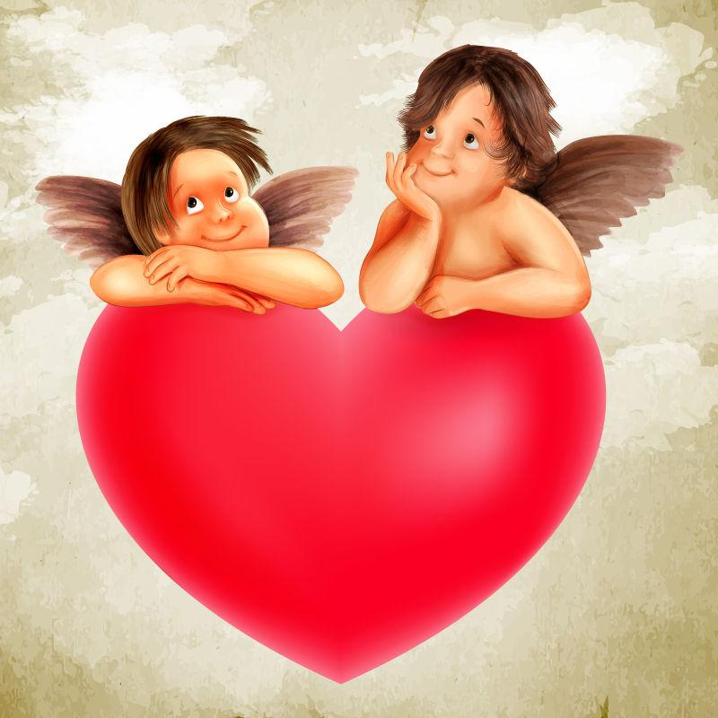 天使与爱矢量