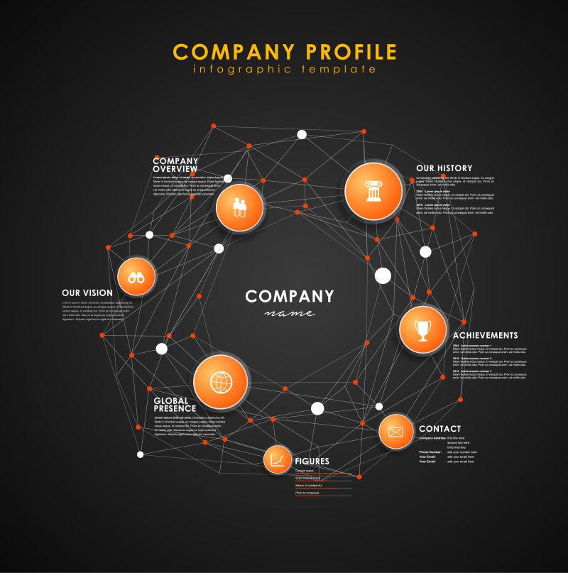 矢量公司概况概述橙色圆圈和点