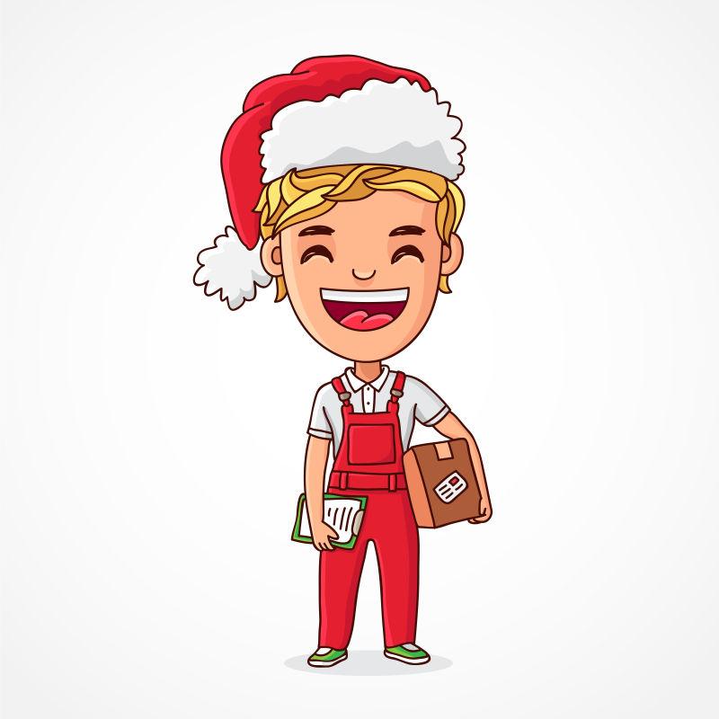 矢量金发男孩穿着圣诞服装拿着礼物