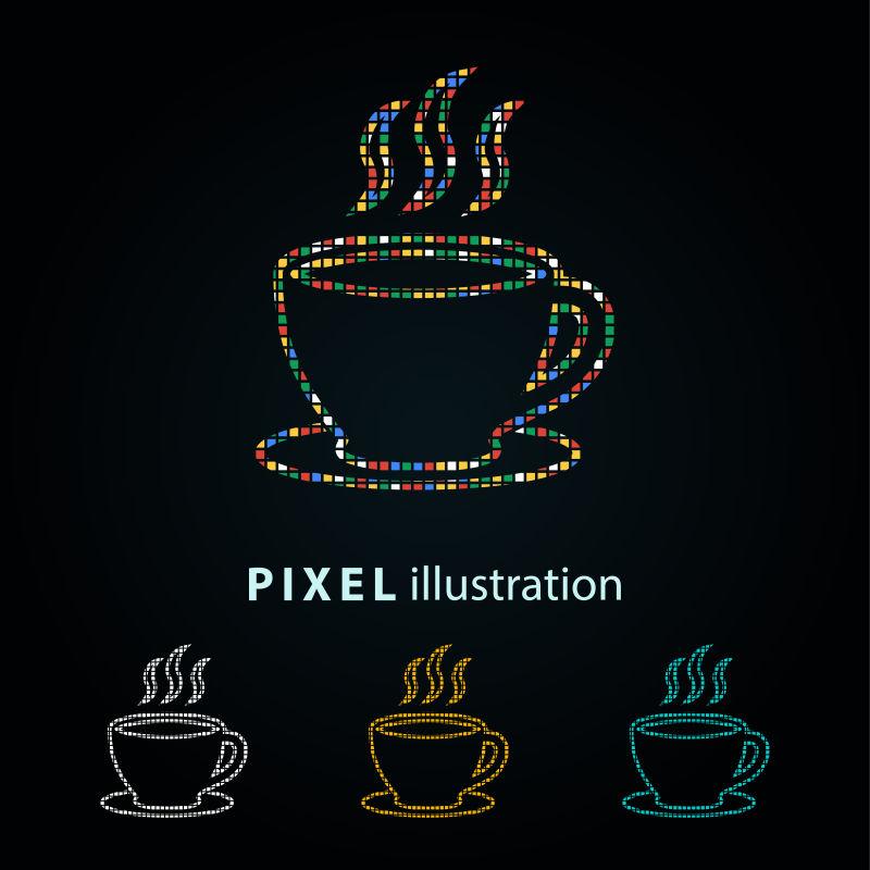 矢量咖啡杯彩色像素图标