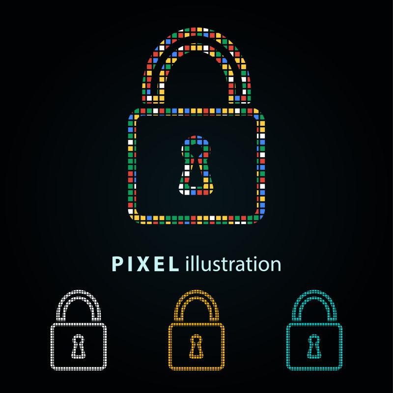 矢量彩色锁定像素图标