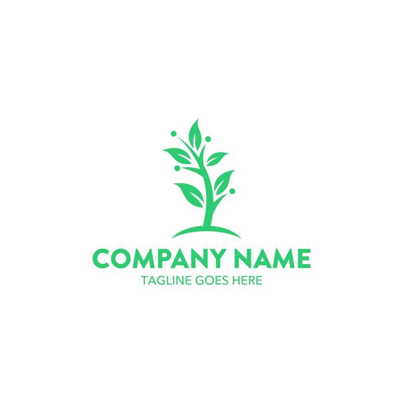 创意的绿色植物标志矢量设计