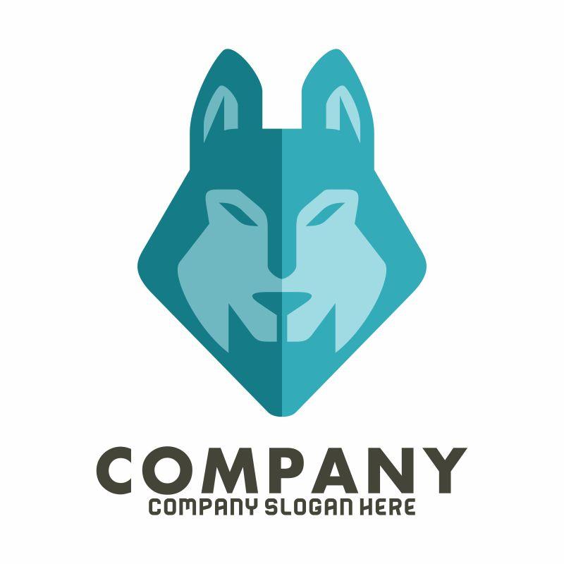 矢量狼头像logo设计