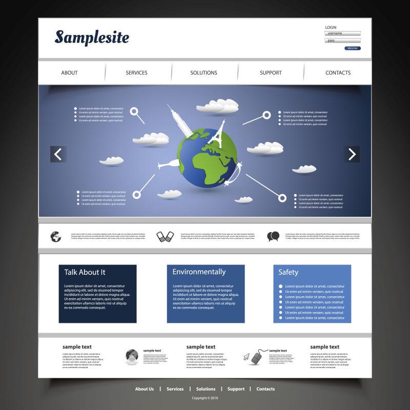创意矢量全球商业经济主题的网站页面设计