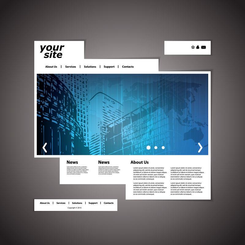 创意矢量现代商业网站页面平面设计