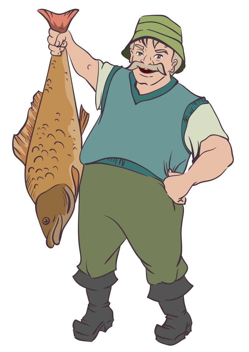渔夫抓住大鱼的尾巴