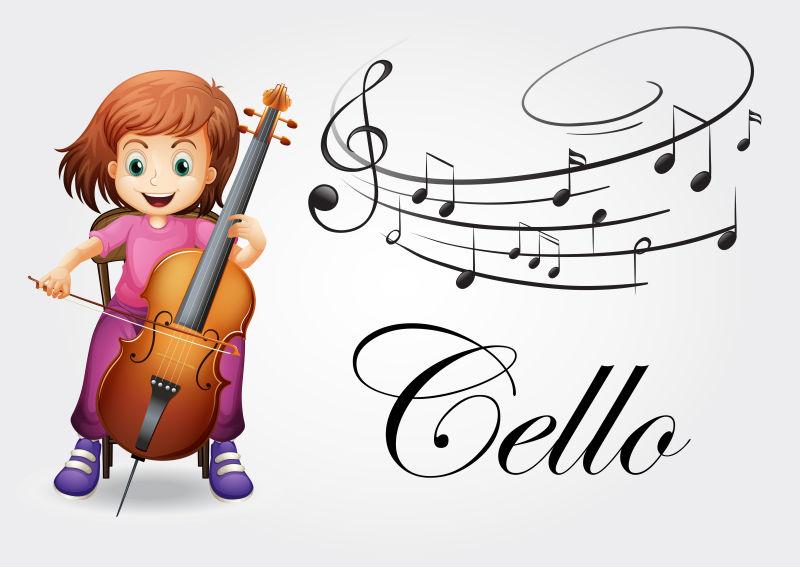 矢量卡通音乐音符弹奏大提琴的女孩