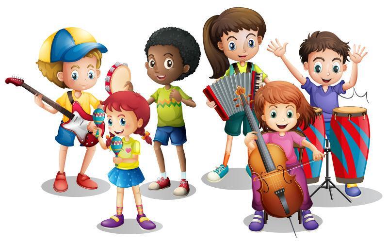 矢量卡通儿童乐队演奏