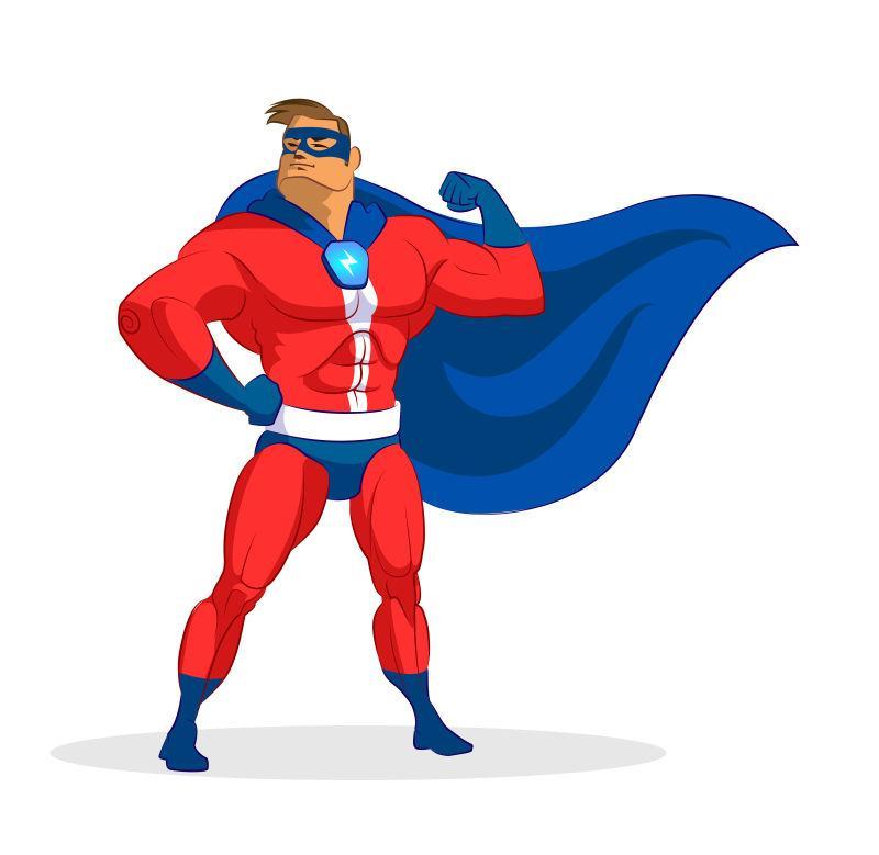 矢量卡通超级男英雄