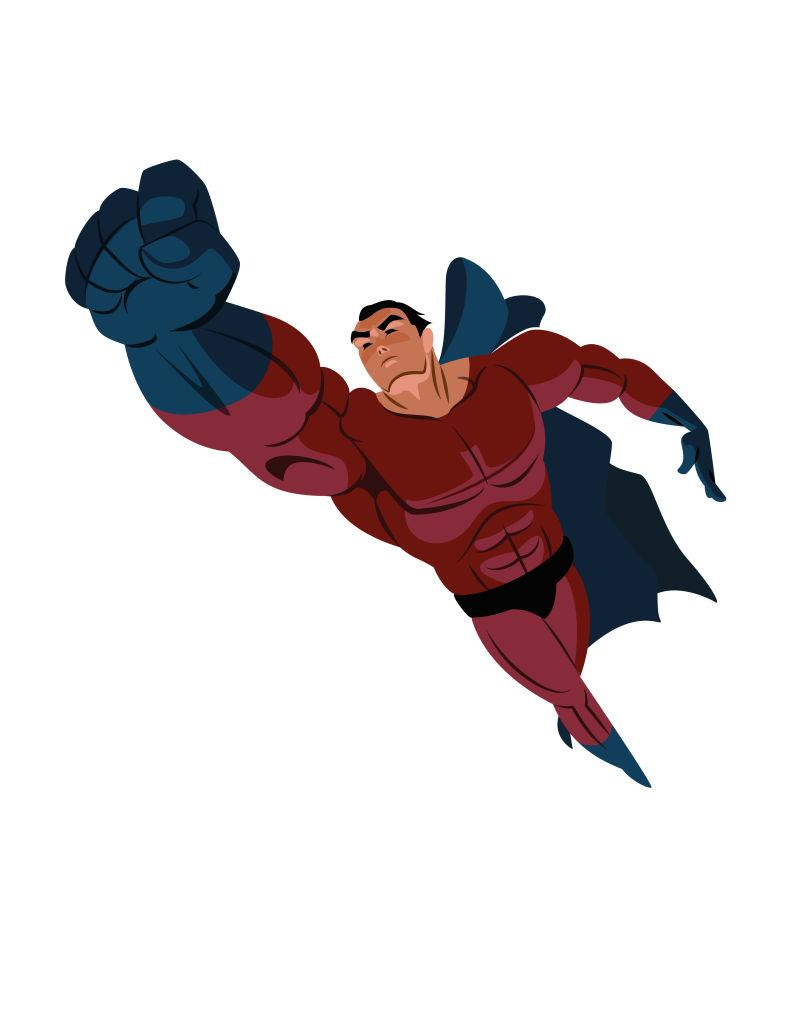 矢量卡通超级英雄飞起来了