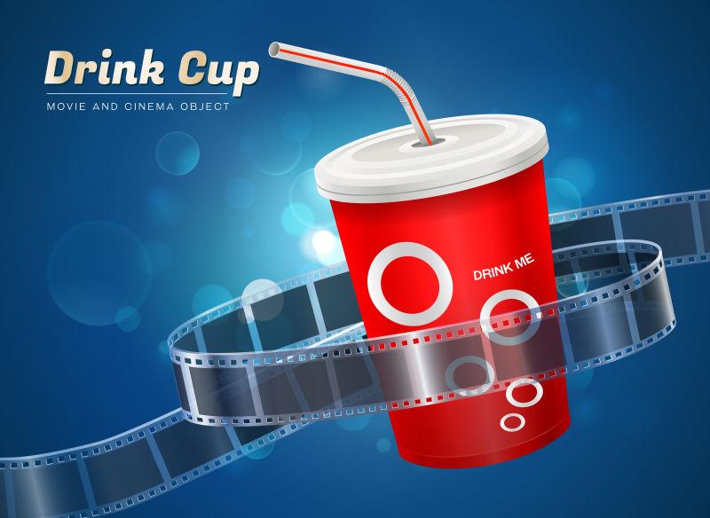 矢量电影饮料杯设备概念
