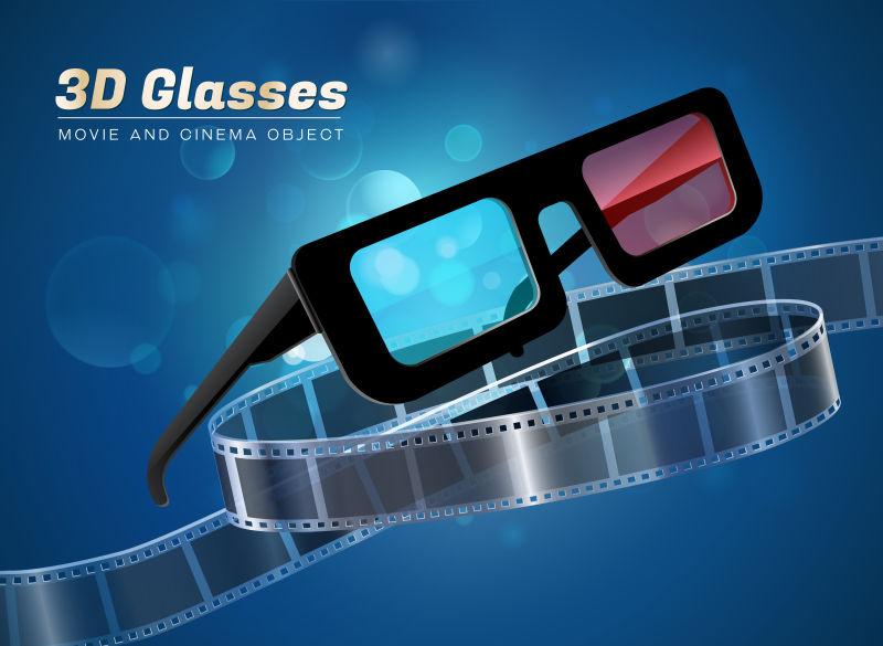 矢量电影3D眼镜概念