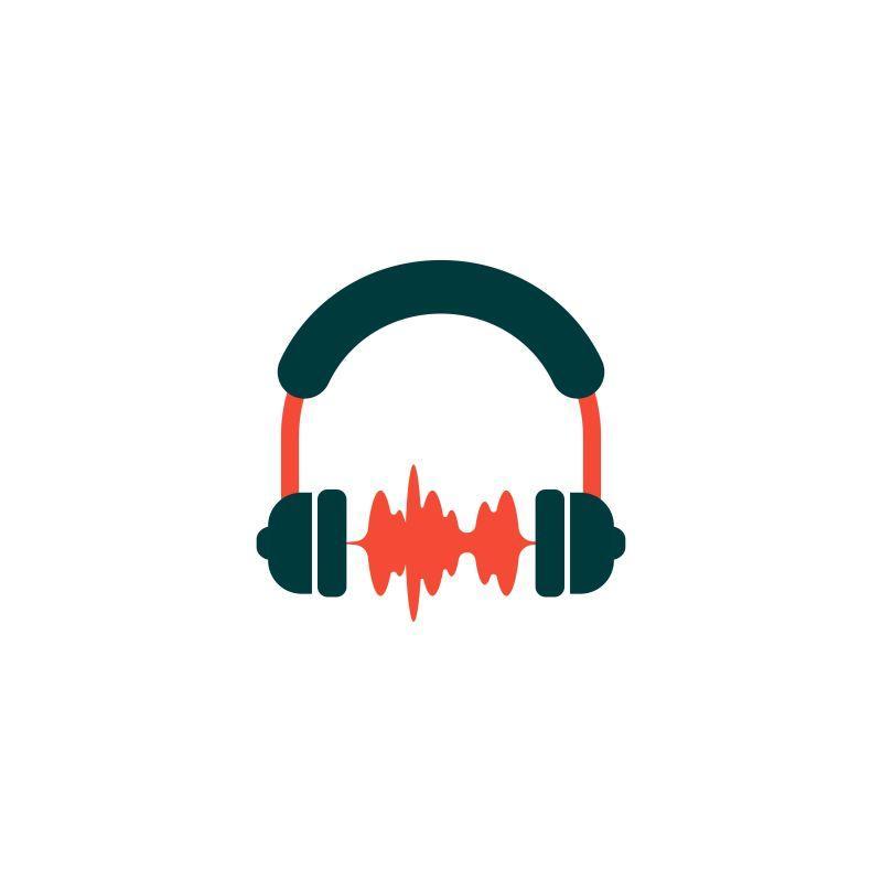 音乐音频标志设计元素矢量