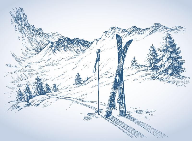 滑雪场地的矢量背景