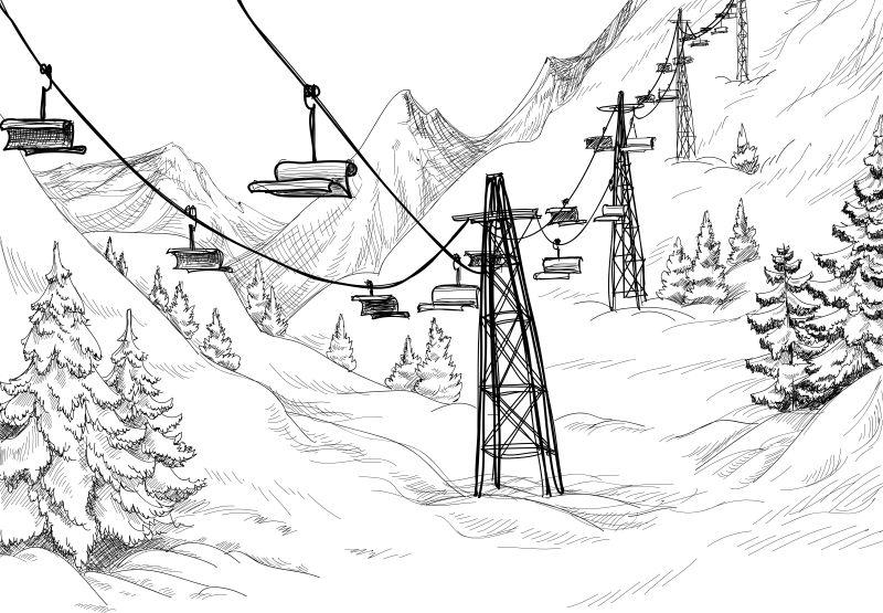 登山滑雪椅矢量插图