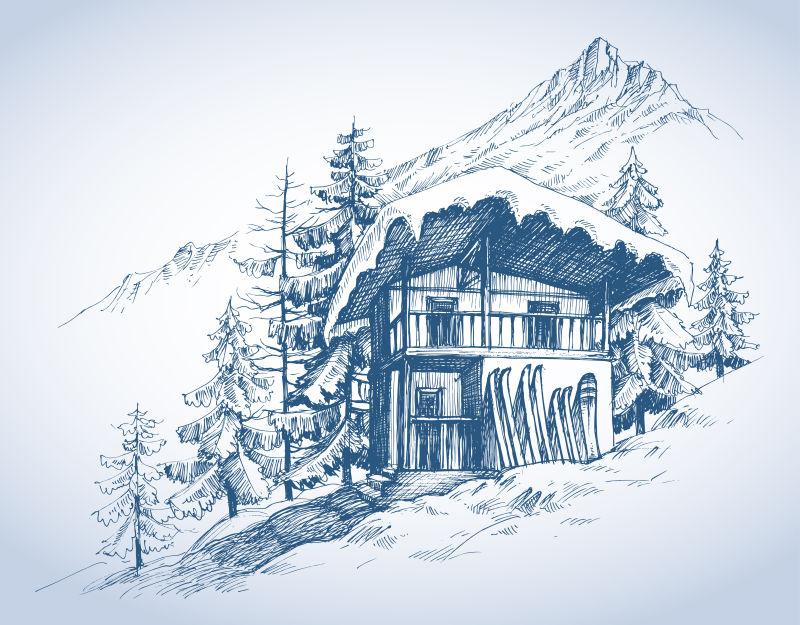 高山滑雪棚矢量插图