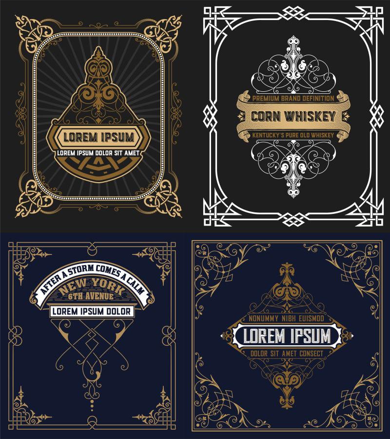 创意矢量老式装饰纹理的卡片设计