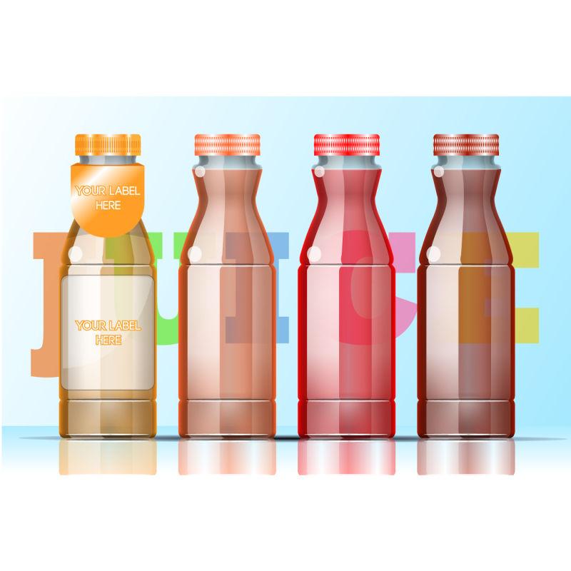 矢量四个透明的饮料瓶